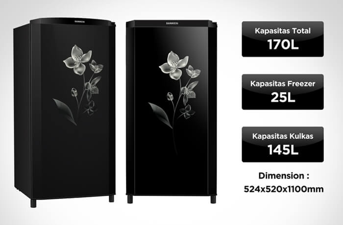 kekurangan kelebihan harga dan spesifikasi kulkas sanken sk-v173f-bk 1 pintu
